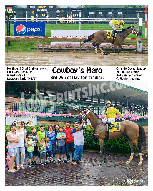 Cowboy's Hero winning at Delaware Park on 7/6/17