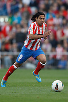 22.04.2012 MADRID, SPAIN - La Liga 11/12 match played between At. Madrid vs R.C.D. Espanyol (3-1) at Vicente Calderon stadium. the picture show Radamel Falcao Garcia (Colombian striker of At. Madrid)