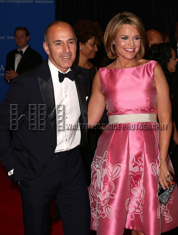 Matt Lauer and Savannah Guthrie attends the 100th Annual White House Correspondents' Association Dinner at the Washington Hilton on May 3, 2014 in Washington, D.C.