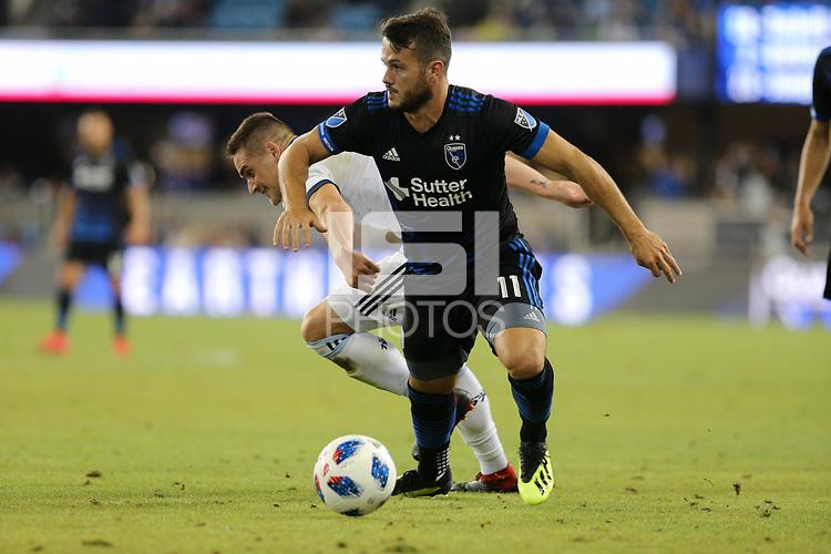 San Jose, CA - Saturday August 25, 2018: Vako during a Major League Soccer (MLS) match between the San Jose Earthquakes and Vancouver Whitecaps FC at Avaya Stadium.