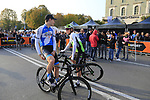 Ben Hermans (BEL) Israel Cycling Academy and Serge Pauwels (BEL) Team Dimension Data chat at sign on before the start of the 112th edition of Il Lombardia 2018, the final monument of the season running 241km from Bergamo to Como, Lombardy, Italy. 13th October 2018.<br /> Picture: Eoin Clarke | Cyclefile<br /> <br /> <br /> All photos usage must carry mandatory copyright credit (© Cyclefile | Eoin Clarke)