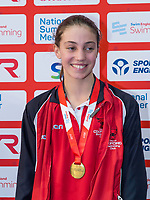 Picture by Allan McKenzie/SWpix.com - 05/08/2017 - Swimming - Swim England National Summer Meet 2017 - Ponds Forge International Sports Centre, Sheffield, England - Mimi Morley Iszatt takes gold in the womens 14yrs 100m backstroke.