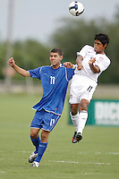 Jose Perez (11) of the USA and Armando Gaitan (11) of the Academy Select Team go up for a header. The US U-17 Men's National Team defeated the Development Academy Select Team 3-1 during day one of the US Soccer Development Academy  Spring Showcase in Sarasota, FL, on May 22, 2009.