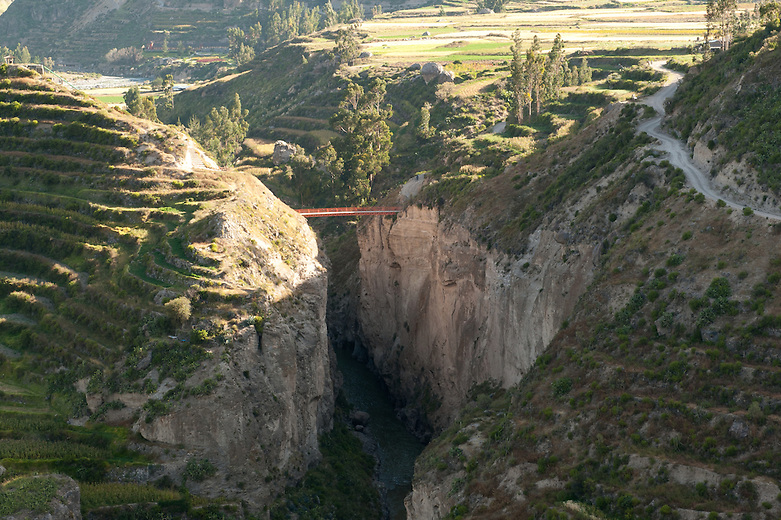 The Colca Canyon, outside of Lari, stretches for more than 37 miles until it reaches the area known as the Condor Cross. The narrow valley, creating the famous Colca Canyon, has been calculated to be more than twice as deep as the Colorado Canyon.