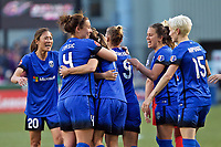 Portland, OR - Saturday May 06, 2017: Merritt Mathias, Seattle Reign FC celebrate during a regular season National Women's Soccer League (NWSL) match between the Portland Thorns FC and the Seattle Reign FC at Providence Park.