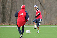 Rafa Marquez (4) passes the ball during a New York Red Bulls practice on the campus of Montclair State University in Upper Montclair, NJ, on July 16, 2012.