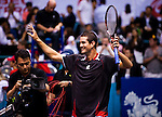 BANGKOK, THAILAND - OCTOBER 03:  Guillermo Garcia-Lopez of Spain celebrates match point in the singles final match against Jarkko Nieminen of Finland during the Day 9 of the PTT Thailand Open at Impact Arena on October 3, 2010 in Bangkok, Thailand.  Photo by Victor Fraile / The Power of Sport Images
