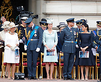 Camilla Duchess of Cambridge, Prince William, Catherine Duchess of Cambridge, Prince Harry, Meghan Duchess of Sussex<br /> The Royal Family watch RAF centenary fly-past at Buckingham Palace, The Mall, London, England on July 10, 2018.<br /> CAP/GOL<br /> &copy;GOL/Capital Pictures