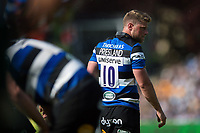 Rhys Priestland of Bath Rugby looks on during a break in play. Aviva Premiership match, between Bath Rugby and London Irish on May 5, 2018 at the Recreation Ground in Bath, England. Photo by: Patrick Khachfe / Onside Images