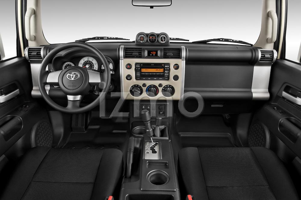 Straight dashboard view of a 2008 Toyota FJ Cruiser.