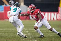 Hawgs Illustrated/BEN GOFF <br /> De'Jon Harris (8), Arkansas linebacker, latches on to Malcolm Williams, Coastal Carolina wide receiver, in the second quarter Saturday, Nov. 4, 2017, at Reynolds Razorback Stadium in Fayetteville.