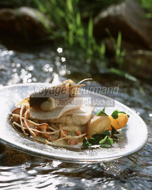 """Europe/France/Auvergne/Haute-Loire/Saint-Bonnet-le-Froid: Filet de féra en croûte au mousserons - Recette de Régis Marcon du restaurant """"Le Clos des Cimes""""  // France, Haute Loire, Saint Bonnet le Froid, Whitefish fillet crusted mushrooms , recipe Regis Marcon, three Michelin star restaurant, Restaurant des Cimes,"""