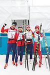 (L-R) Yoshihiro Nitta, Momoko Dekijima, Yurika Abe, Daiki Kawayoke (JPN), <br /> MARCH 18, 2018 - Cross-Country Skiing : <br /> 4 x 2.5 km Mix relay <br /> at Alpensia Biathlon Centre   <br /> during the PyeongChang 2018 Paralympics Winter Games in Pyeongchang, South Korea. <br /> (Photo by Sho Tamura/AFLO SPORT)