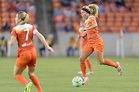 Houston, TX - Friday April 29, 2016: Rachel Daly (3) of the Houston Dash brings the ball up the field against Sky Blue FC at BBVA Compass Stadium. The Houston Dash tied Sky Blue FC 0-0.