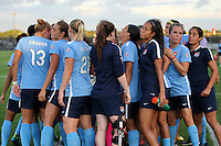 Piscataway, NJ - Wednesday Sept. 07, 2016: Sky Blue FC huddle prior to a regular season National Women's Soccer League (NWSL) match between Sky Blue FC and the Orlando Pride FC at Yurcak Field.