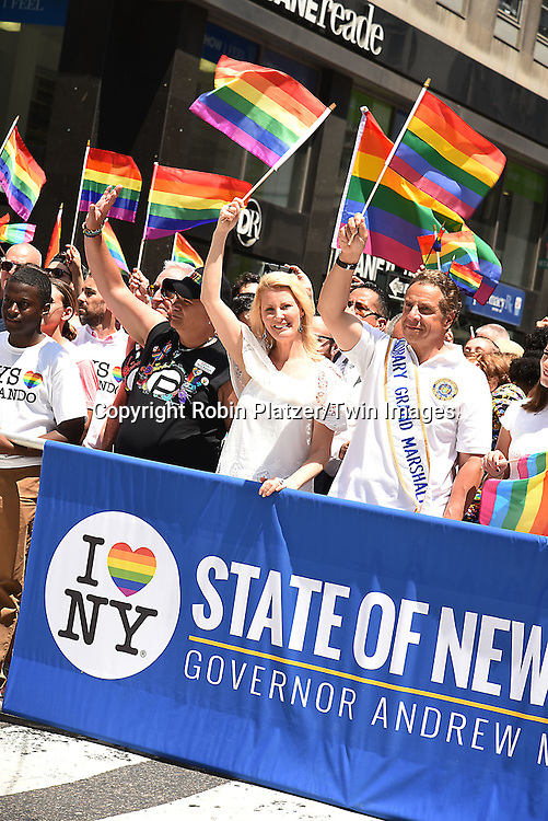 Sandra Lee,Governer Andrew Cuomo and daughter Michaelaattends the New York City Gay Pride March 2016 on June 26, 2016 on Fifth Avenue in New York City, New York, USA.<br /> <br /> photo by Robin Platzer/Twin Images<br />  <br /> phone number 212-935-0770
