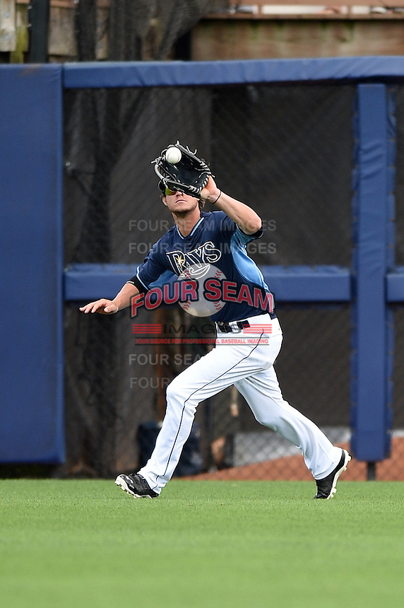 Tampa Bay Rays outfielder Wil Myers (9) during a spring training game against the Boston Red Sox on March 25, 2014 at Charlotte Sports Park in Port Charlotte, Florida.  (Mike Janes/Four Seam Images)