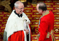 18 May 2016 - London England - Justin Welby, Archbishop of Canterbury, (L) arrives to take his seat ahead of the Queen's Speech during the State Opening of Parliament in London. The State Opening of Parliament marks the formal start of the parliamentary year and the Queen's Speech sets out the government's agenda for the coming session. Photo Credit: ALPR/AdMedia