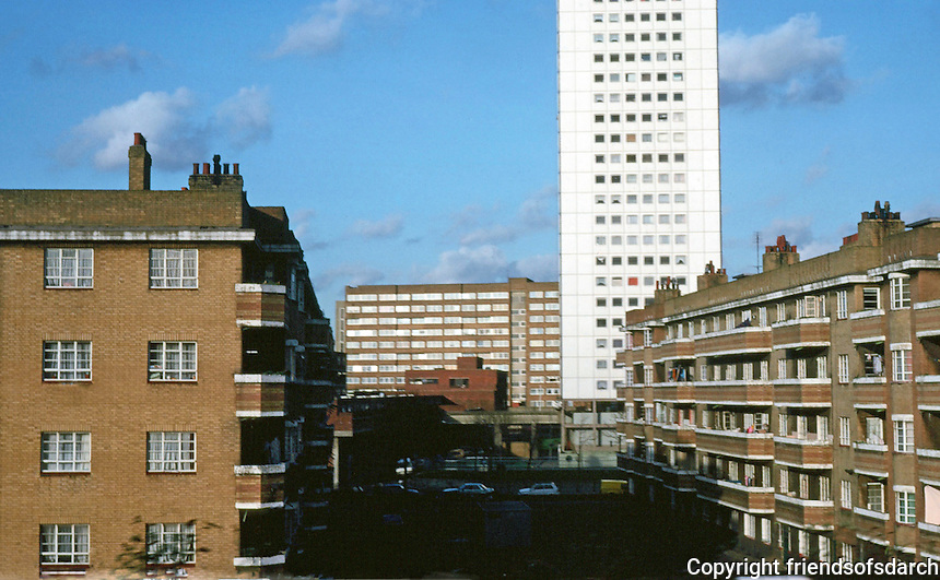 "London Docklands:  Shadwell--Council Housing. I'd say 1940's and 1970""s.  Photo  '90."