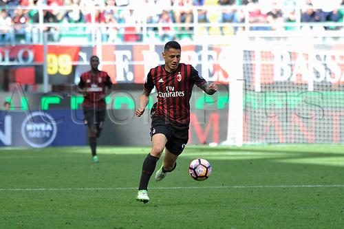 April 23rd 2017, San Siro Stadium, Milan, Italy; Gianluca Lapadula of Milan in action during Serie A football AC Milan versus Empoli;