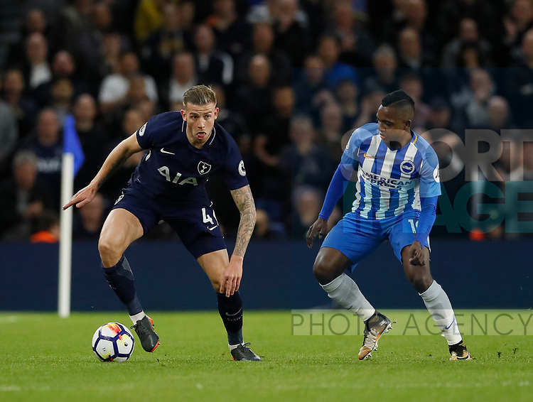 Toby Alderweireld of Tottenham and Jose Izquierdo of Brighton during the premier league match at the Amex Stadium, London. Picture date 17th April 2018. Picture credit should read: David Klein/Sportimage