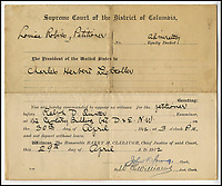 BNPS.co.uk (01202 558833)?Pic: H.Aldridge&amp;Son/BNPS<br /> <br /> A summons letter for Charles Lightoller to appear at the Supreme Court of Columbia, to be a witness at the American Titanic enquiry on 30th April 1912 at 3pm.<br /> <br /> A menu for the first ever meal served on Titanic has sold for a world record &pound;100,000.<br /> <br /> The incredibly rare postcard-size menu was for lunch on April 2, 1912, which was the first day of the doomed liner's sea trials in the Irish Sea.<br /> <br /> Senior officers, officials from shipbuilders Harland and Wolff and VIPs sat down in the main dining saloon.<br /> <br /> In keeping with the opulent surroundings and the quality of fare to be served to the first class passengers, the small group indulged in only the finest of food.<br /> <br /> There was consumme mirrette and cream of chicken to start, salmon and sweat bread for the fish course, spring lamb, roast chicken and braised ham for mains and pudding sans souci and peaches imperial for desert followed by coffee.
