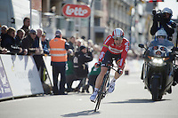 Sean De Bie (BEL/Lotto-Soudal) finishing his TT<br /> <br /> 3 Days of De Panne 2015<br /> stage 3b: De Panne-De Panne TT