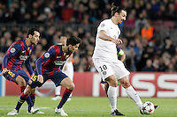 FC Barcelona's Sergio Busquets (l) and Marc Bartra (c) and Paris Saint-Germain's Zlatan Ibrahimovic during Champions League 2014/2015 match.December 10,2014. (ALTERPHOTOS/Acero) /NortePhoto