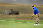 VALENTINE, NE - OCTOBER 2: Jacob Otta from South Dakota State University rolls his birdie putt to the cup on the first hole during the SDSU Invite Monday at The Prairie Club in Valentine, NE. (Photo by Dave Eggen/Inertia)