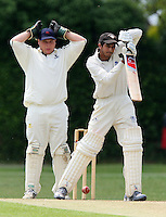 M Squibb looks on from behind the stumps as GPR batsman T Shahzad has a close shave - Upminster CC vs Gidea Park & Romford CC - Essex Cricket League at Upminster Park - 27/06/09- MANDATORY CREDIT: Gavin Ellis/TGSPHOTO - Self billing applies where appropriate - 0845 094 6026 - contact@tgsphoto.co.uk - NO UNPAID USE.