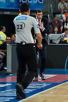 Referee with FC Barcelona Lassa coach Georgios Bartzokas during the final of Supercopa of Liga Endesa Madrid. September 24, Spain. 2016. (ALTERPHOTOS/BorjaB.Hojas) NORTEPHOTO.COM