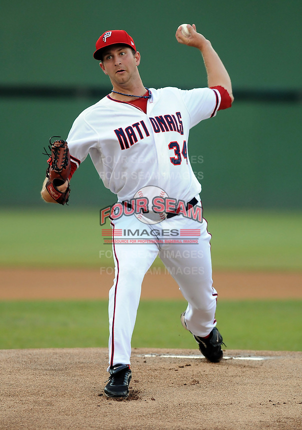 Starting pitcher Evan Bronson (34) of the Potomac Nationals, Carolina League affiliate of the Washington Nationals, in a game against the Salem Red Sox on June 16, 2011, at Pfitzner Stadium in Woodbridge, Va. Photo by Tom Priddy / Four Seam Images