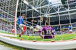 Solna 2014-07-24 Fotboll Europa League AIK - Linfield FC :  <br /> AIK:s Nabil Bahoui  med en m&aring;lchans i den f&ouml;rta halvleken framf&ouml;r Linfields m&aring;lvakt goalkeeper Jonny Tuffey <br /> (Foto: Kenta J&ouml;nsson) Nyckelord:  AIK Gnaget Friends Arena Linfield LFC Europa League Kval