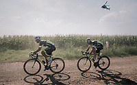 Kevyn Ista (BEL/WB Veranclassic Aqua Protect) & Olivier Pardini (BEL/WB Veranclassic Aqua Protect) in duo over a gravel section<br /> <br /> 92nd Schaal Sels 2017 <br /> 1 Day Race: Merksem > Merksem (188km)