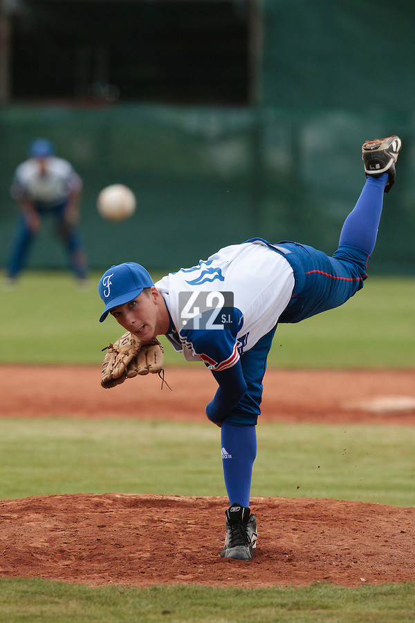 18 August 2010: Steven Vesque of Team France pitches against Ukraine during the France 7-3 win over Ukraine, at the 2010 European Championship, under 21, in Brno, Czech Republic.