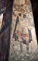 Picture & image of Vardzia medieval cave Church of the Dormition interior secco paintings, part of the cave city and monastery of Vardzia, Erusheti Mountain, southern Georgia (country)<br /> <br /> Inhabited from the 5th century BC, the first identifiable phase of building took place at  Vardzia in the reign of Giorgi III (1156-1184) to be continued by his successor, Queen Tamar 1186, when the Church of the Dormition was carved out of the rock and decorated with frescoes