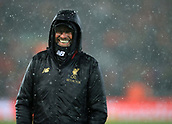 30th January 2019, Anfield, Liverpool, England; EPL Premier League football, Liverpool versus Leicester City; Liverpool manager Jurgen Klopp smiles as hail and snow falls prior to the kick off