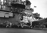 Dynamic static.  The motion of its props causes an &quot;aura&quot; to form around this F6F on USS YORKTOWN.  Rapid change of pressure and drop in temperature create condensation.  Rotating with blades, halo moves aft, giving depth and perspective.  November 1943.  (Navy)<br /> Exact Date Shot Unknown<br /> NARA FILE #:  0080-G-204747A<br /> WAR &amp; CONFLICT BOOK #:  961
