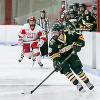 Boston, Massachusetts - January 14, 2017: NCAA Division I. After overtime, Boston University (white) tied University of Vermont (green), 3-3, at Walter Brown Arena.