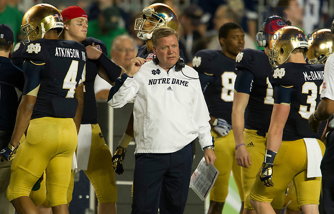 Jan. 7, 2013; Head coach Brian Kelly on the sidelines during the second half against Alabama of the 2013 BCS Championship in Miami, Florida. Alabama defeated Notre Dame 42 to 14. Photo by Barbara Johnston/University of Notre Dame