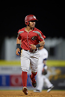 Altoona Curve center fielder Elvis Escobar (13) running the bases during a game against the Binghamton Rumble Ponies on May 17, 2017 at NYSEG Stadium in Binghamton, New York.  Altoona defeated Binghamton 8-6.  (Mike Janes/Four Seam Images)