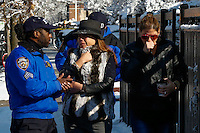 NYPD officers speak with neighbors as they attend a fire alarm where at least 7 children died during the fire in Brooklyn, New York. 21.03.2015. Eduardo Munoz Alvarez/VIEWpress.