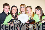 The Na Gaeil musicians that played in Scor na nO?g in the Gleneagle Hotel Killarney on Sunday night l-r: Eoghan Sheehy, Amy Stone, Anna Hayes, Janna Foley and Hillary White   Copyright Kerry's Eye 2008
