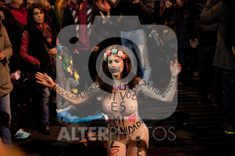 Naked protester, thought to be a member of FEMEN, during a demonstration against the government outside parliament in Madrid. December 14, 2013. (ALTERPHOTOS/Victor Blanco)