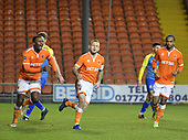 18-12-2018  FAC2 Replay Blackpool v Solihull Moor<br /> <br /> Jay Spearing, centre, celebrates his goal, Blackpool's third, to make it 3-2 in extra time.