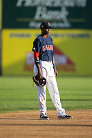 Salem Red Sox shortstop Jose Vinicio (3) on defense against the Winston-Salem Dash at LewisGale Field at Salem Memorial Ballpark on May 13, 2015 in Salem, Virginia.  The Red Sox defeated the Dash 8-2.  (Brian Westerholt/Four Seam Images)