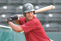 May 27, 2008: Infielder Greg Veloz (7) of the Savannah Sand Gnats, Class A affiliate of the New York Mets, prior to a game against the Greenville Drive at Fluor Field at the West End in Greenville, S.C. Photo by:  Tom Priddy/Four Seam Images