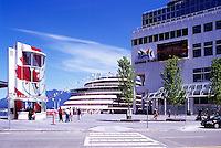 "The New Tourist Welcome Centre and Information Booth and Cruise Ship at ""Canada Place"" Trade and Convention Centre and Cruise Ship Terminal, Vancouver, British Columbia, Canada"