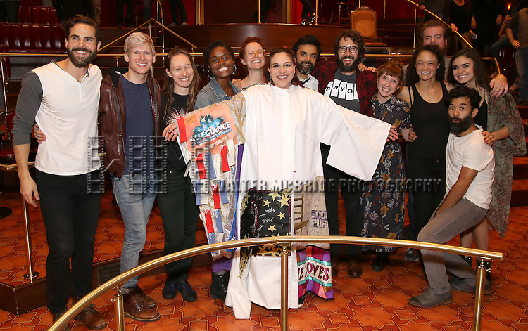 Katrina Yaukey with Nicholas Belton, Lucas Steele, Gelsey Bell, Denee Benton, Grace McLean, Nick Choksi, Josh Groban, Brittain Ashford, Scott Stangland, Amber Gray, Paul Pinto, Ashley Perez Flanagan and cast during the Broadway Opening Night Actors' Equity Gypsy Robe Ceremony honoring Katrina Yaukey  for  'Natasha, Pierre & The Great Comet Of 1812' at The Imperial Theatre on November 14, 2016 in New York City.