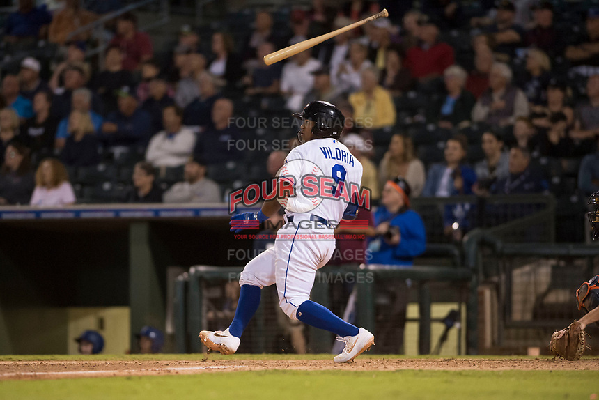 AFL West catcher Meibrys Viloria (9), of the Surprise Saguaros and Kansas City Royals organization, flips his bat after hitting a walk-off line drive to center field to win the Fall Stars game at Surprise Stadium on November 3, 2018 in Surprise, Arizona. The AFL West defeated the AFL East 7-6 . (Zachary Lucy/Four Seam Images)